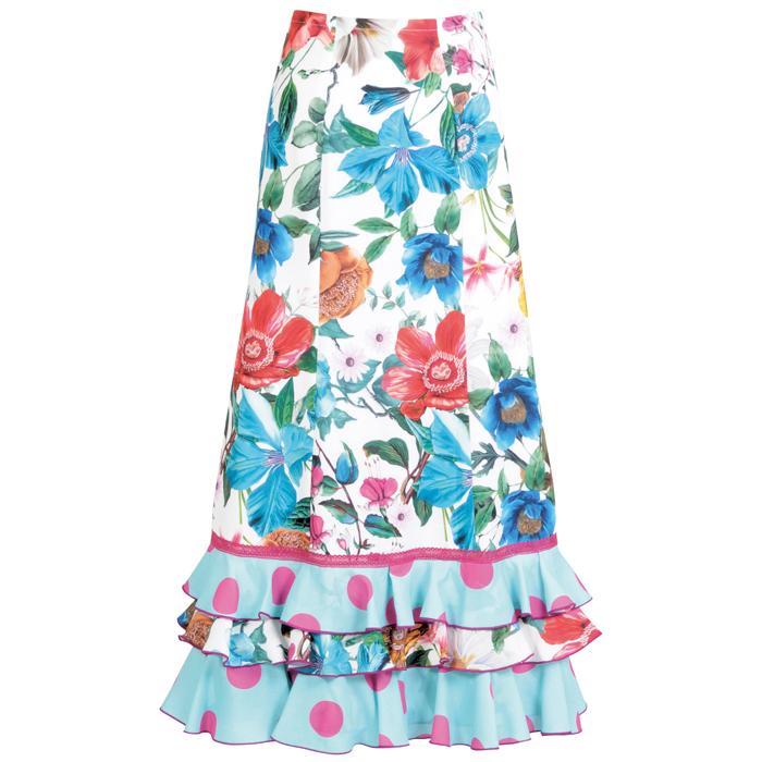 【現品限り】CF-1905 スペイン製スカート グリーン系花柄【スペイン製】【フラメンコ衣装】ファルダ ダンス 発表会