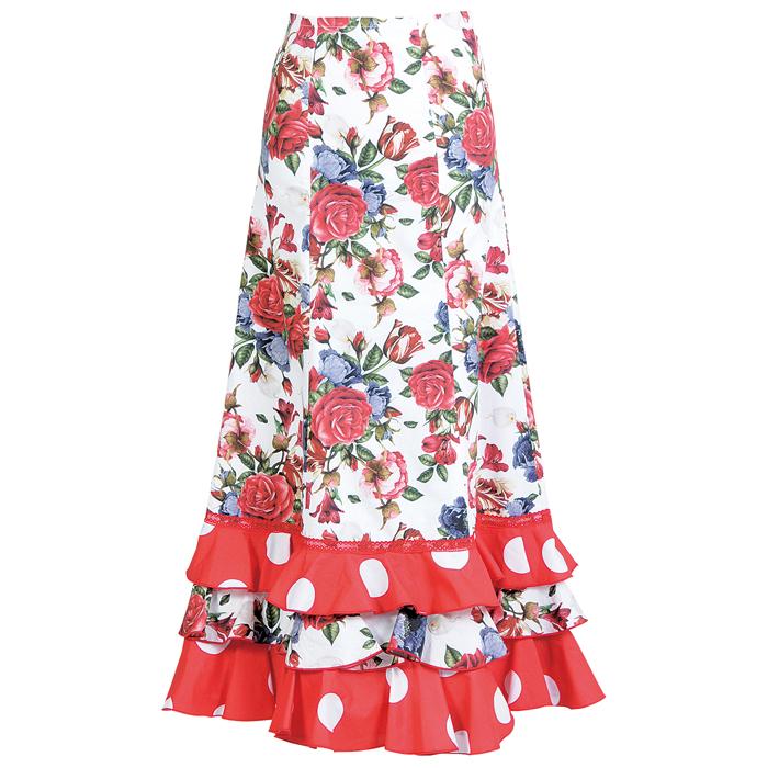 【現品限り】CF-1905 スペイン製スカート レッド系花柄【スペイン製】【フラメンコ衣装】ファルダ ダンス 発表会