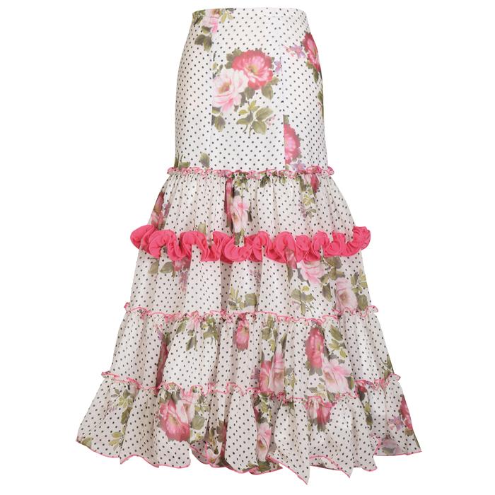 【現品限り】GF-1802 ホワイト/ピンク花柄【スペイン製】【フラメンコ衣装】ファルダ