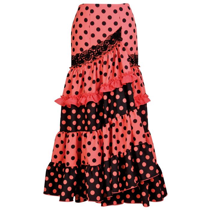 【現品限り】GF-1903 スペイン製スカート/コーラル×ブラック水玉【スペイン製】【フラメンコ衣装】ファルダ