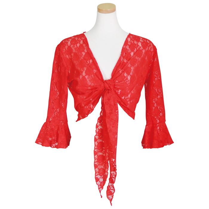 羽織るだけでサマになる総レース仕立てのレースボレロ レースボレロ レッド フラメンコ用品 ダンス衣装 毎週更新 トップス 1点のみメール便可 練習用 レッスンウエア タイムセール