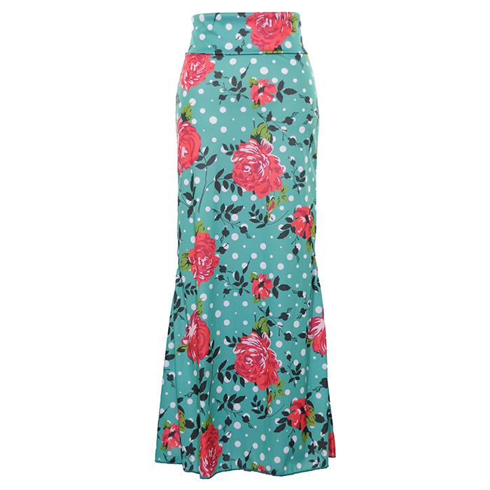 ビビットな色合いと大柄が目を惹くマーメイドスカート 再入荷 メーカー直売 HDF-2002 安い 激安 プチプラ 高品質 ハイウエスト後ろマチ入りスカート 柄M フラメンコ 1点のみメール便可 ファルダ