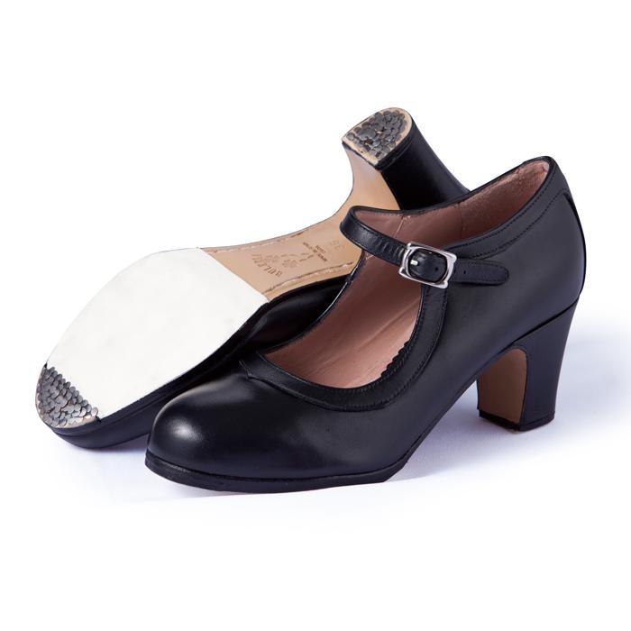 〈ブレリア・サバテス〉プロ/黒革【普通幅(B)】【靴】【フラメンコシューズ】サパトス zapatos