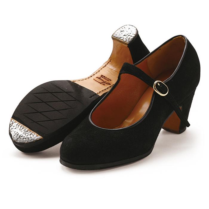 〈アマジャ〉セミプロ/黒スエード【幅広(C)】【靴】【フラメンコシューズ】サパトス zapatos