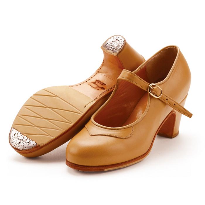 〈アマジャ〉セミプロ/ベージュ革【幅広(C)】【靴】【フラメンコシューズ】サパトス zapatos