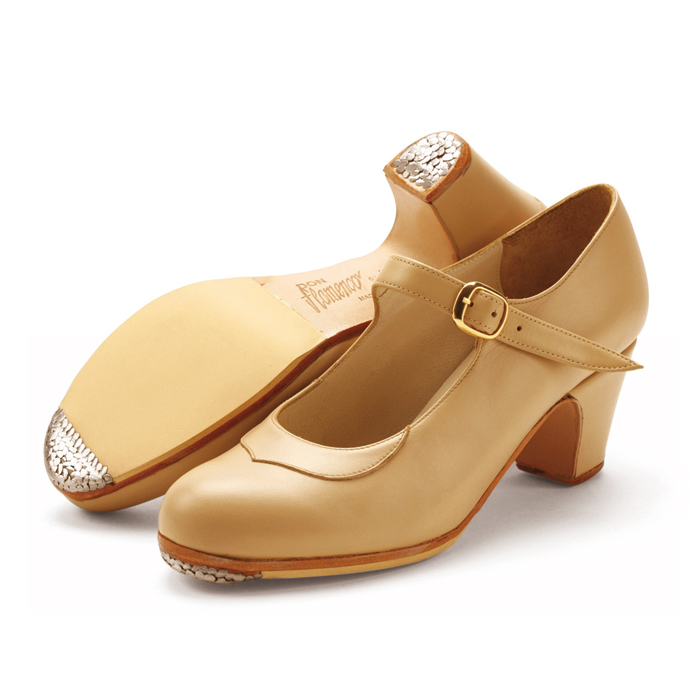 〈ドン・フラメンコ〉セミプロ・ベージュ革【普通幅(B)】【靴】【フラメンコシューズ】サパトス zapatos