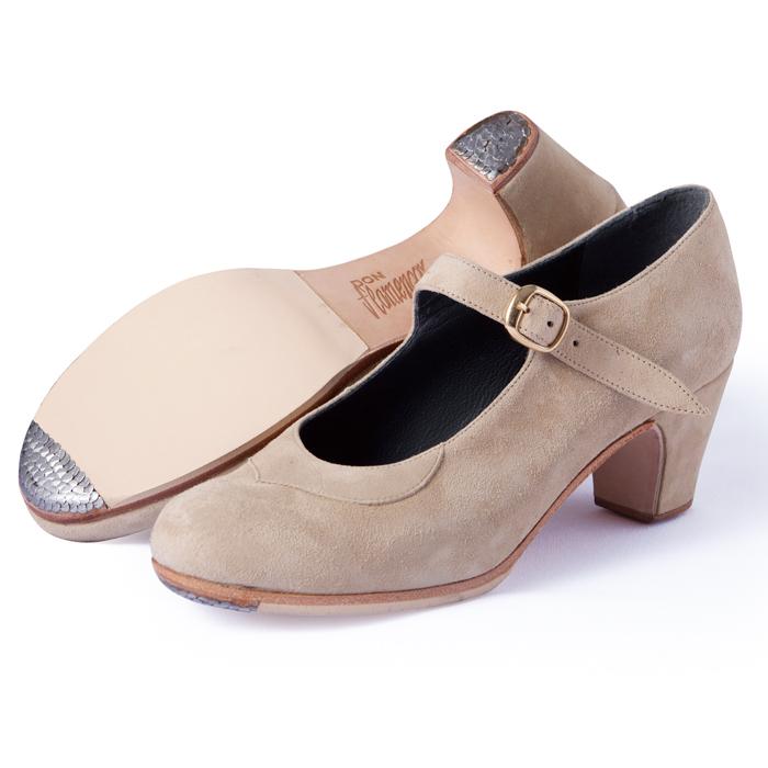 〈ドン・フラメンコ〉セミプロ/ベージュ・スエード【普通幅(B)】【靴】【フラメンコシューズ】サパトス zapatos
