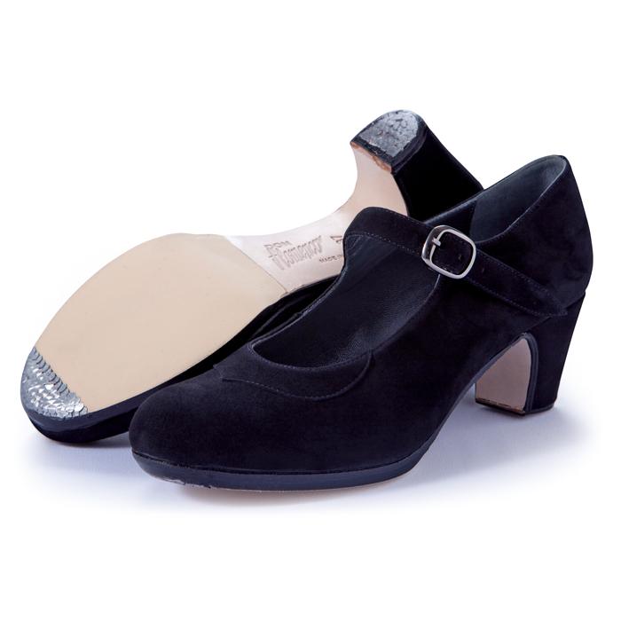 〈ドン・フラメンコ〉セミプロ/黒スエード【普通幅(B)】【靴】【フラメンコシューズ】サパトス zapatos