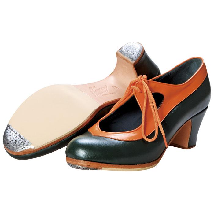 【現品のみ/37.0B】〈ドン・フラメンコ〉セミプロ・CANDELA 橙×濃緑【普通幅(B)】【靴】【フラメンコシューズ】サパトス zapatos