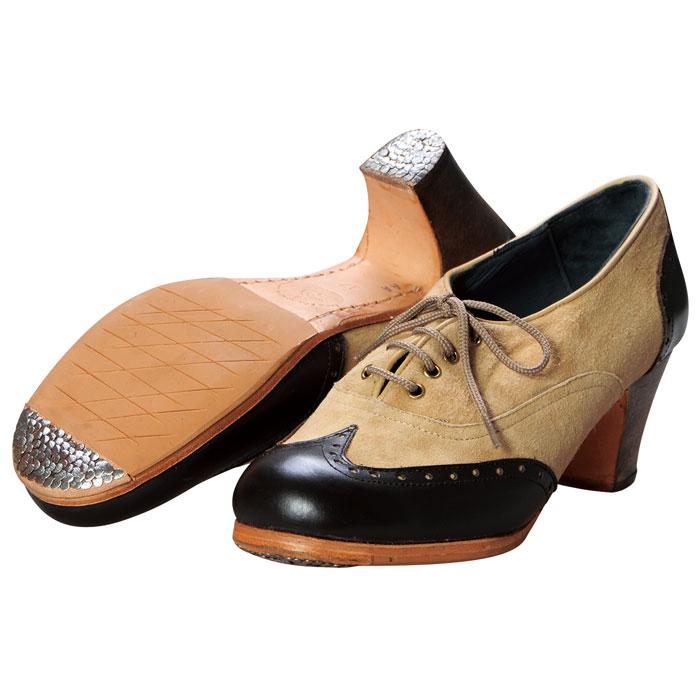 【現品のみ/37.0C】〈ルナ・フラメンカ〉プロ チャピン / ベージュ×ダークブラウン【幅広(C)】【靴】【フラメンコシューズ】サパトス zapatos