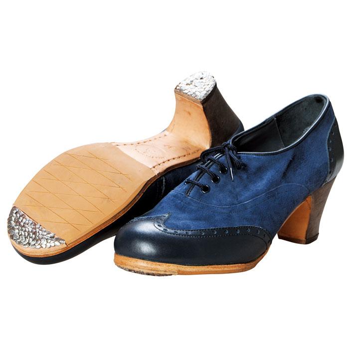 【現品のみ/37.0C】〈ルナ・フラメンカ〉プロ チャピン / ブルー×ネイビー【幅広(C)】【靴】【フラメンコシューズ】サパトス zapatos