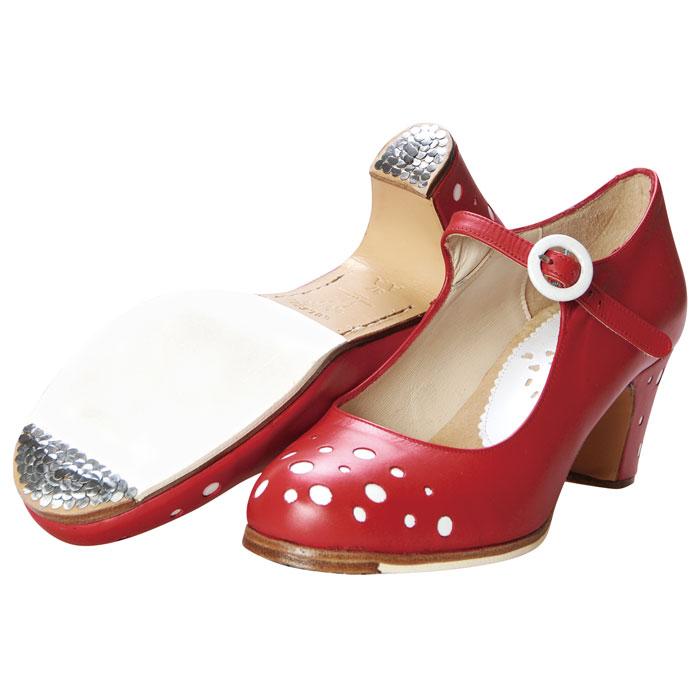 〈ブレリア・サバテス〉プロ MORAモラ レッド×ホワイト【幅広(C)】【靴】【フラメンコシューズ】サパトス zapatos ドット