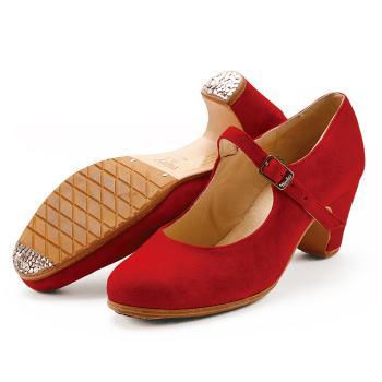 【受注生産】【7月上~中旬入荷】〈メンケス〉セミプロ ソレア レッドスエード【幅広(C)】【靴】【フラメンコシューズ】サパトス zapatos