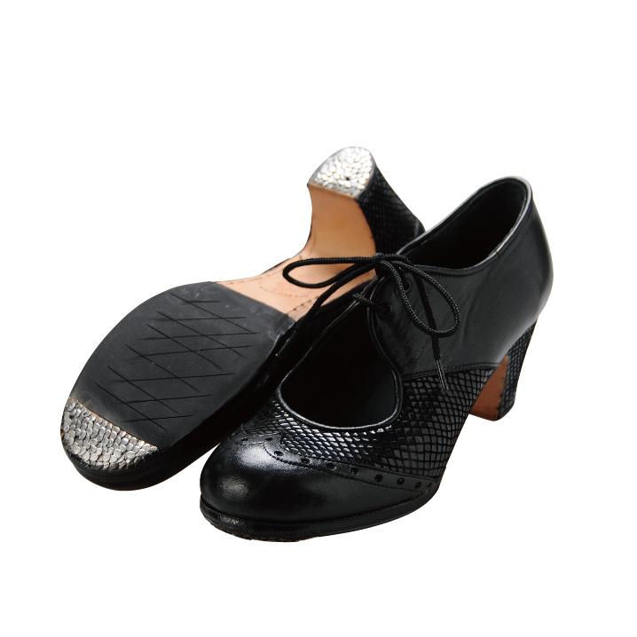ルナ・フラメンカ/プロ 紐革 ブラック【幅広(C)】【靴】【フラメンコシューズ】サパトス zapatos