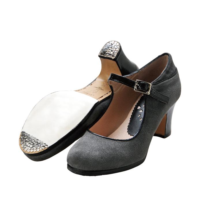 〈ブレリア・サバテス〉プロ  クラスCLASS グレー×ブラック【幅広(C)】【靴】【フラメンコシューズ】サパトス zapatos