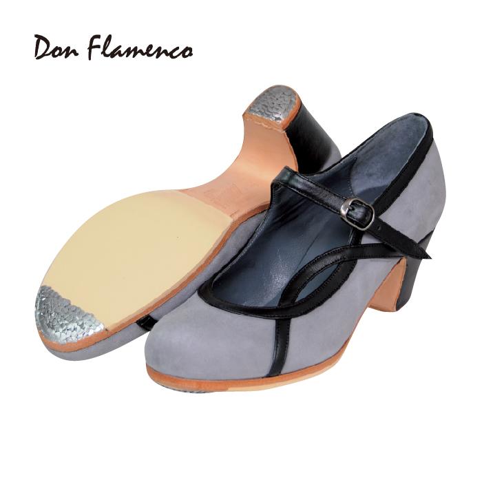 〈ドン・フラメンコ〉セミプロ ALAMEDA アラメダ / グレー×ブラック【普通幅(B)】【靴】【フラメンコシューズ】サパトス zapatos