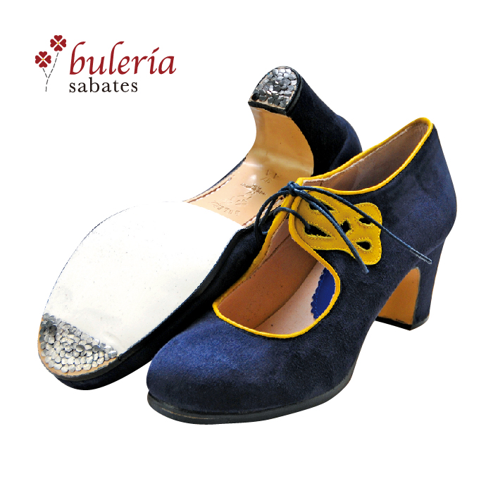 〈ブレリア・サバテス〉プロ・アコルデ / ネイビー×イエロー【幅広(C)】【靴】【フラメンコシューズ】サパトス zapatos ドット