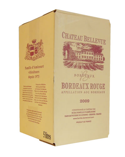 AOCボルドー(赤) シャトーベルヴュー 2013バッグインボックス 5L レ・ヴィニュロン・アルティザン 'Les Vignerons Artisans'【この商品はお酒です】