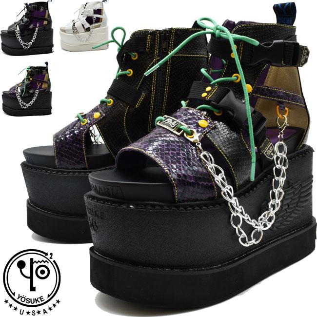 あす楽 送料無料 厚底シューズ 靴 レディース YOSUKE U.S.A ヨースケ 永遠の定番 ボーンサンダル 厚底 信憑 厚底サンダル S-LL クーポン対象商品 ブーツサンダル 全3色 セール 2601055