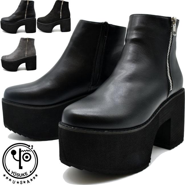 あす楽 送料無料 厚底ブーツ 靴 超激安特価 レディース YOSUKE 直営店 U.S.A ヨースケ ブーツ 厚底 ハイソール セール ショート クーポン対象商品 2810077 タイムセール 23-25.5 ショートブーツ 全3色
