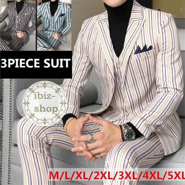 配色ストライプ柄スリムスーツ セットアップ スリーピーススーツ メンズ 3ピース スリーピース スリム スーツ 紳士服パーティースーツ結婚式二次会 大きいサイズおしゃれスーツ