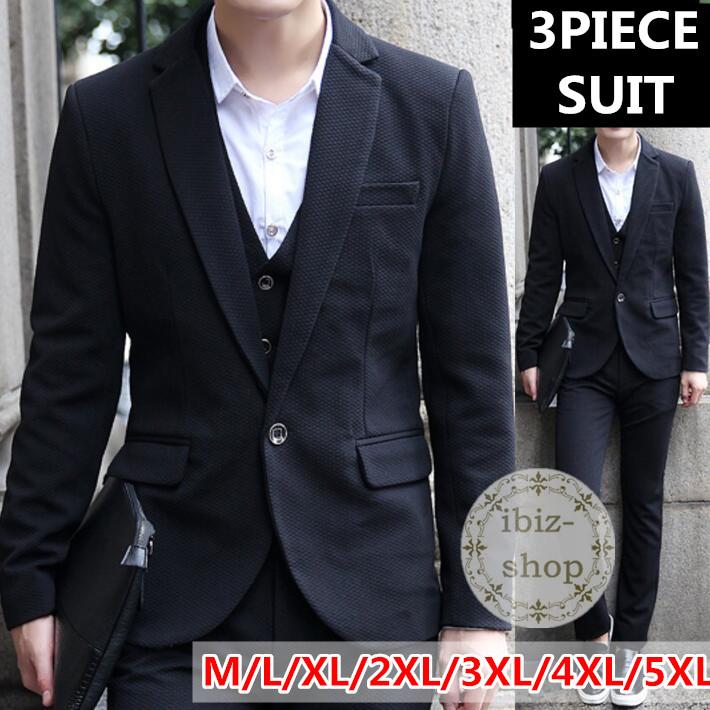 黒スーツ 3ピース スーツ スリムスーツ セットアップ メンズ 大きいサイズ カジュアルスーツ ビジネススーツ リクルートスーツ スリーピース卒業式通勤結婚式 二次会スリーピース スーツ メンズ  大きいサイズ オシャレスーツ