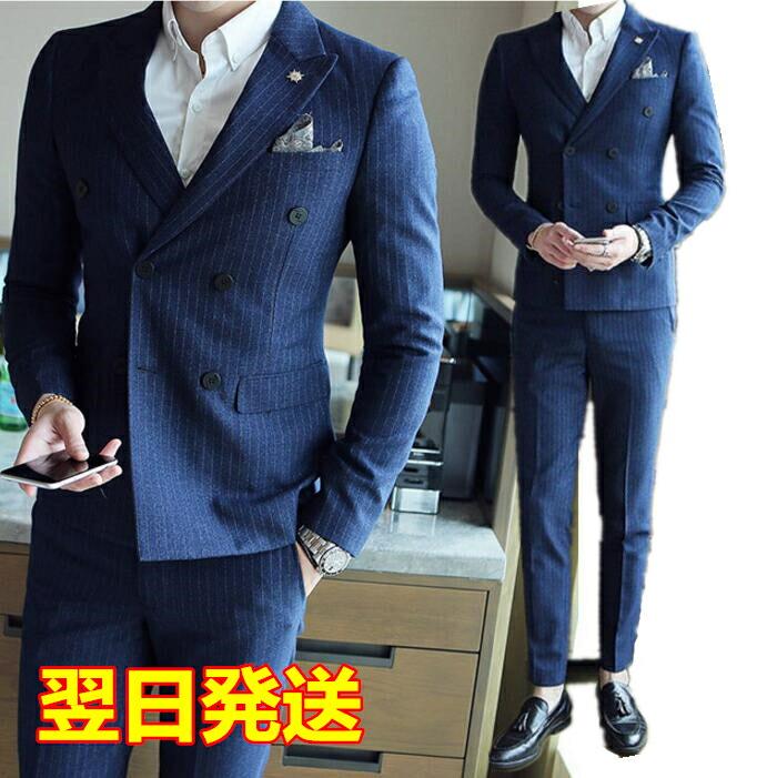 楽天市場 翌日発送 Xl 2xlサイズ ダブルスーツ 縦縞スーツ