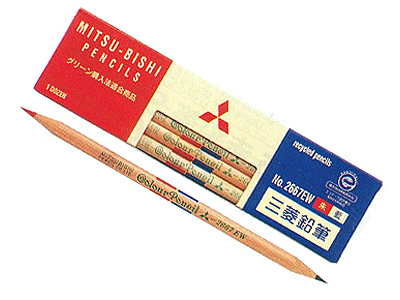 ◆ Mitsubishi recycled pencil Zhu ran 5:05 (red blue pencil) 1 dozen