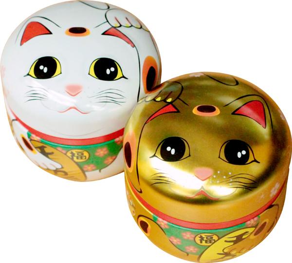 招き猫缶 茶筒 お茶っ葉 鈴子 全商品オープニング価格 かわいい 茶缶 小さい 招き猫 100g用缶 直営店 1缶