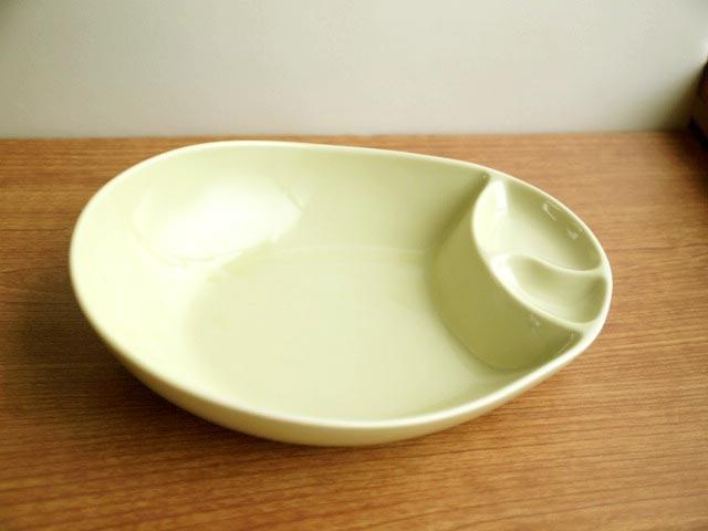 限定タイムセール セール特価品 カレーにおでんに 仕切付きの深めの皿です カレー皿 おでん鉢用 グリーン