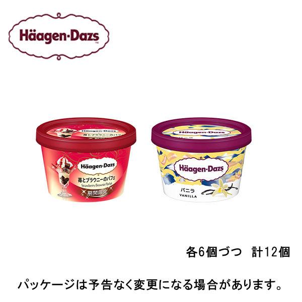 【期間限定】【HD】ハーゲンダッツ ミニカップ12個セット(バニラ、苺とブラウニーのパフェ)