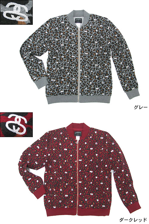 a9284e15ea6c ... Womens Leopard Terry Bomber jacket, STUSSY STUSSY (stussy jkt JACKET  outerwear tops jumpers- ...