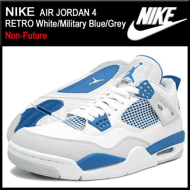 Nike NIKE sneakers Air Jordan 4 retro White/Military Blue/Grey non future  men (men's) (nike AIR JORDAN 4 RETRO Non-Future 308497-105) ice filed  icefield
