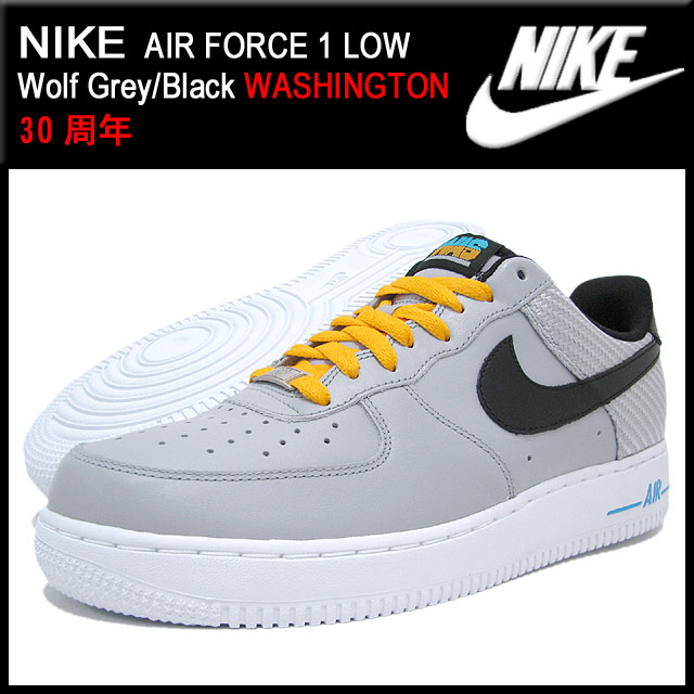 Nike NIKE sneakers air force 1 Lo Wolf GreyBlack Washington limited edition men's (men's) (nike AIR FORCE 1 LOW WASHINGTON 30 anniversary 488298 014)