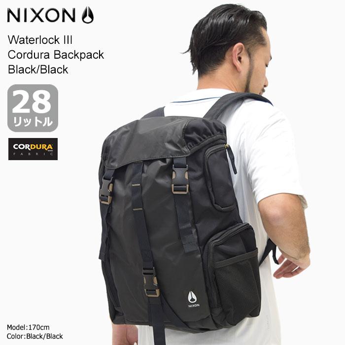 ニクソン nixon リュック ウォーターロック 3 コーデュラ バックパック ブラック/ブラック(nixon Waterlock III Cordura Backpack Black/Black Bag バッグ Daypack デイパック 普段使い 通勤 通学 旅行 メンズ レディース 男女兼用 NC28121148)