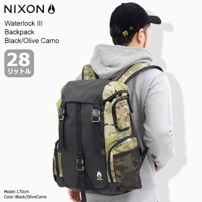 ニクソン nixon リュック ウォーターロック 3 バックパック ブラック/オリーブカモ(nixon Waterlock III Backpack Black/Olive Camo Bag バッグ Daypack デイパック 普段使い 通勤 通学 旅行 メンズ レディース ユニセックス 男女兼用 NC28122865)