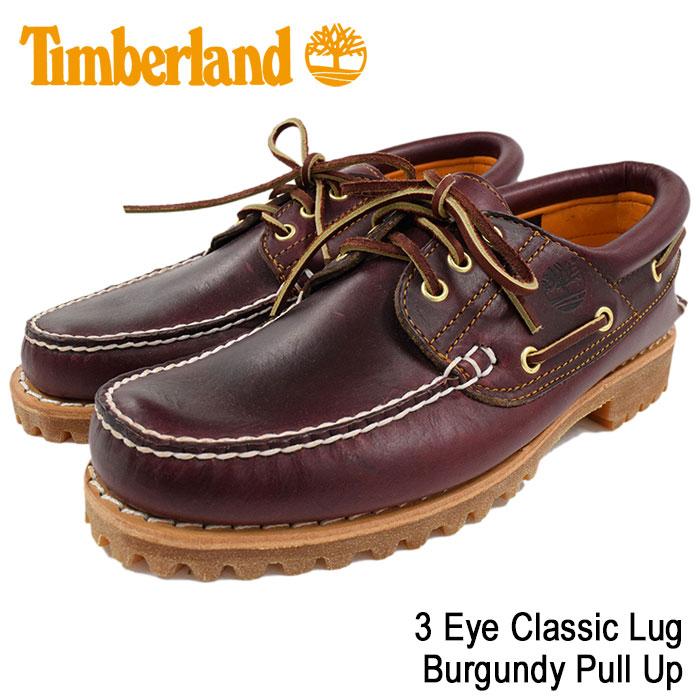【日本正規品】ティンバーランド Timberland デッキシューズ メンズ スリーアイ クラシック ラグ バーガンディー プルアップ(timberland 50009 3 Eye Classic Lug Burgundy Pull Up 赤茶レザー モカシン メンズ靴 シューズ SHOES)