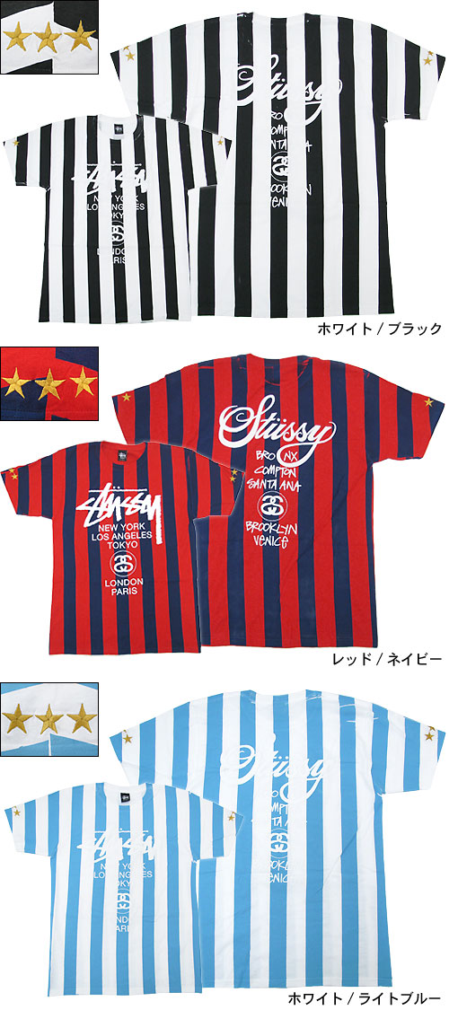Stussy STUSSY Striped WT T shirt short sleeve NTRNTNL soccer collection (stussy tee tee shirts T-SHIRTS tops limited men and men's 3902666 Stussy stussy Stussy Steacy) ice filed icefield