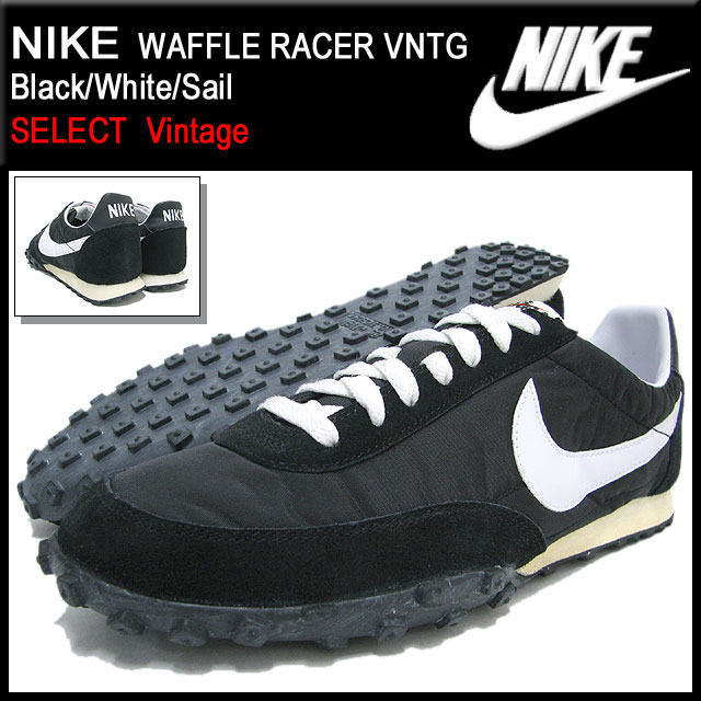 Nike NIKE sneakers waffle racer VNTG Black/White/Sail-limited men (male  business) (nike WAFFLE RACER VNTG SELECT Vintage Sneaker sneaker SNEAKER  MENS, ...