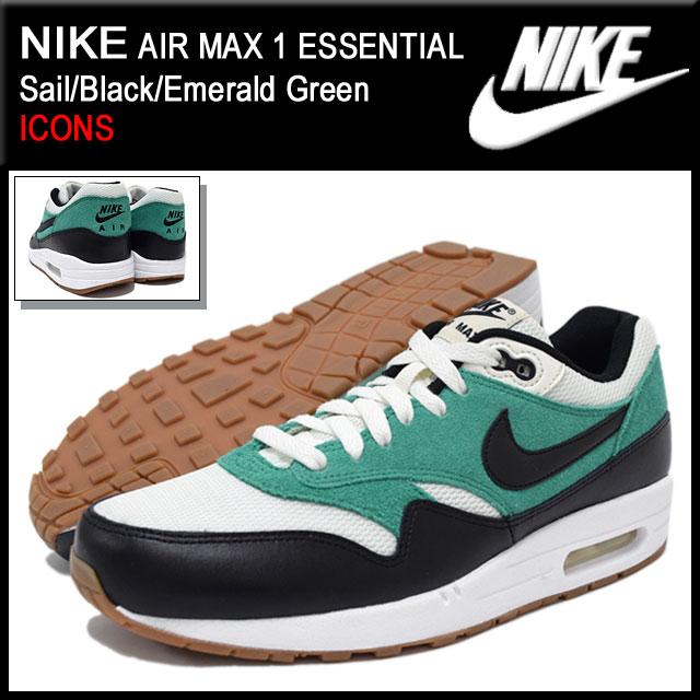 Nike NIKE sneakers Air Max 1 essential SailBlackEmerald Green limited edition men's (men's) (nike AIR MAX 1 ESSENTIAL ICONS Sneaker sneaker SNEAKER