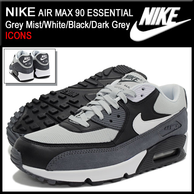 separation shoes b2d5e 1ba2c Nike NIKE sneakers Air Max 90 essential Grey Mist White Black Dark Grey  limited edition men s (men s) (ESSENTIAL ICONS Sneaker MENS, nike AIR MAX 90 -shoes ...