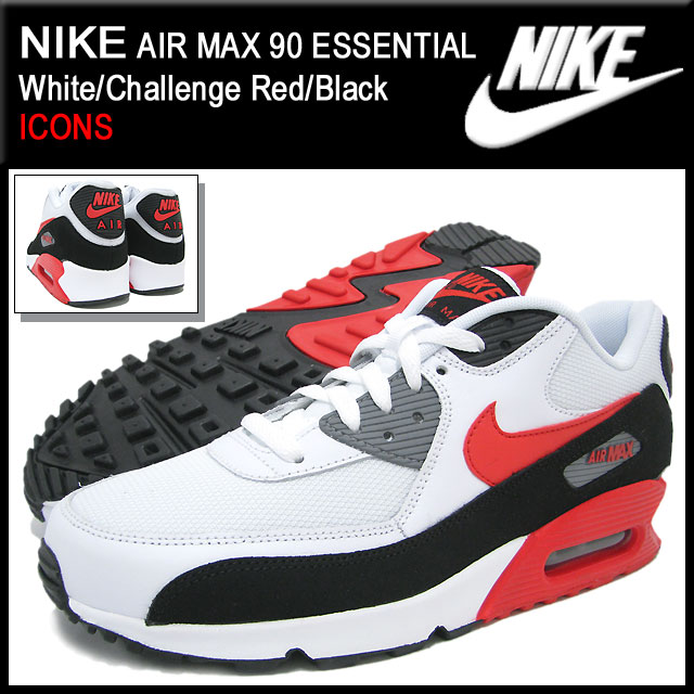 online retailer b4bc5 9ff32 Nike NIKE sneakers Air Max 90 essential White/Challenge Red/Black limited  edition men's (men's) (nike AIR MAX 90 ESSENTIAL ICONS Sneaker sneaker ...