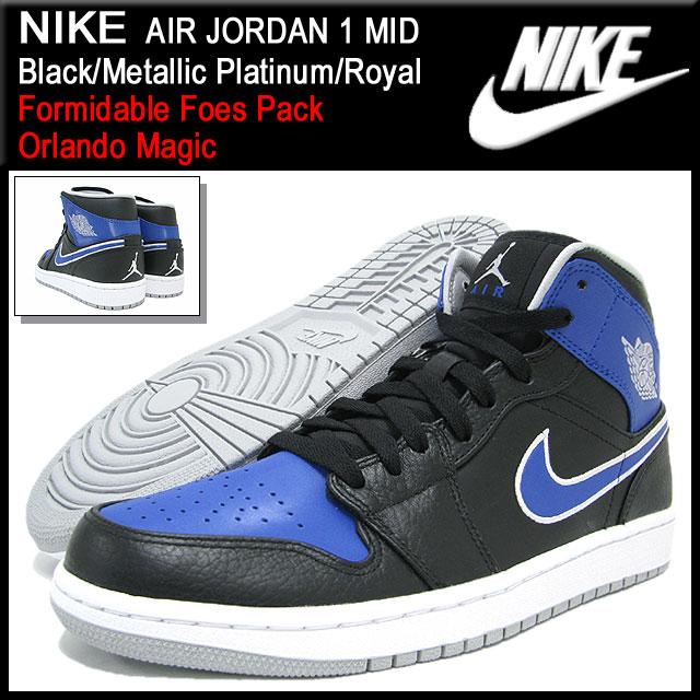 Nike NIKE sneakers Air Jordan 1 mid Black Metallic Platinum Royal men  (men s) (nike AIR JORDAN 1 MID Formidable Foes Pack Sneaker sneaker SNEAKER  MENS-shoes ... 6e0be66a0