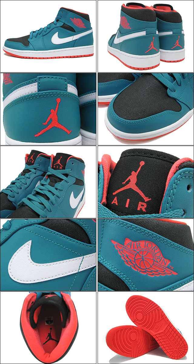 250dc22f65ce ... Nike NIKE sneakers Air Jordan 1 mid Tropical Teal Infrared 23   Black  men s (