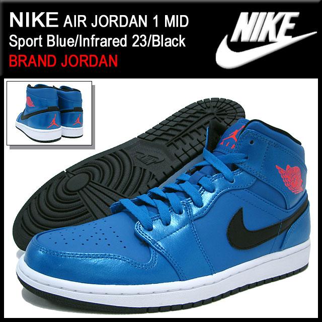 promo code 61768 f9e89 ... Nike NIKE sneakers Air Jordan 1 mid Sport Blue Infrared 23   Black men s  ...