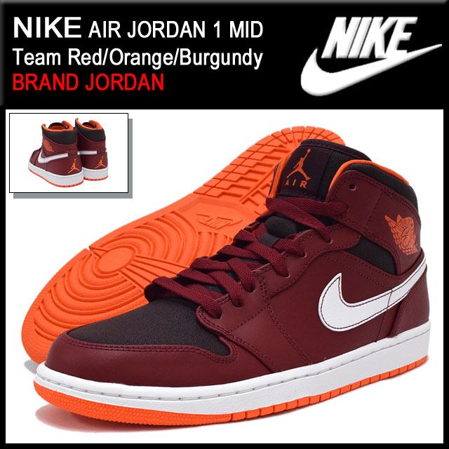 8a325fa4f38f Nike NIKE sneakers Air Jordan 1 mid Team Red Orange Burgundy men (men s) (nike  NIKE AIR JORDAN 1 MID BRAND JORDAN Sneaker sneaker SNEAKER MENS-shoes shoes  ...