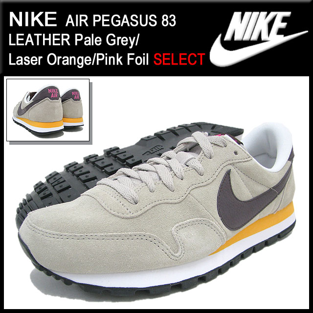 Nike NIKE sneakers air Pegasus 83 leather Pale GreyLaser OrangePink Foil limited men's (for the man) (nike AIR PEGASUS 83 LEATHER SELECT Sneaker