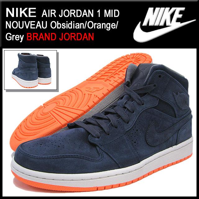 c26774c3e16b9a Nike NIKE sneakers Air Jordan 1 mid Nouveau Obsidian Orange Grey men (men s)  (nike NIKE AIR JORDAN 1 MID NOUVEAU BRAND JORDAN Sneaker sneaker SNEAKER ...