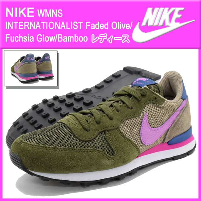 Nike NIKE sneakers Womens internationalist Faded Olive Fuchsia Glow Bamboo-ladies  (for women) (nike WMNS INTERNATIONALIST Sneaker sneaker SNEAKER ... 403c3144f0
