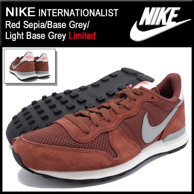 Nike NIKE sneakers internationalist Red Sepia/Base Grey/Light Base Grey limited edition-men (men's) (nike INTERNATIONALIST Limited Sneaker MENS-shoes shoes SHOES sneaker 631754-201) ice filed icefield